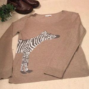 Tan sweater..Pink Rose..Zebra wrap around..XL